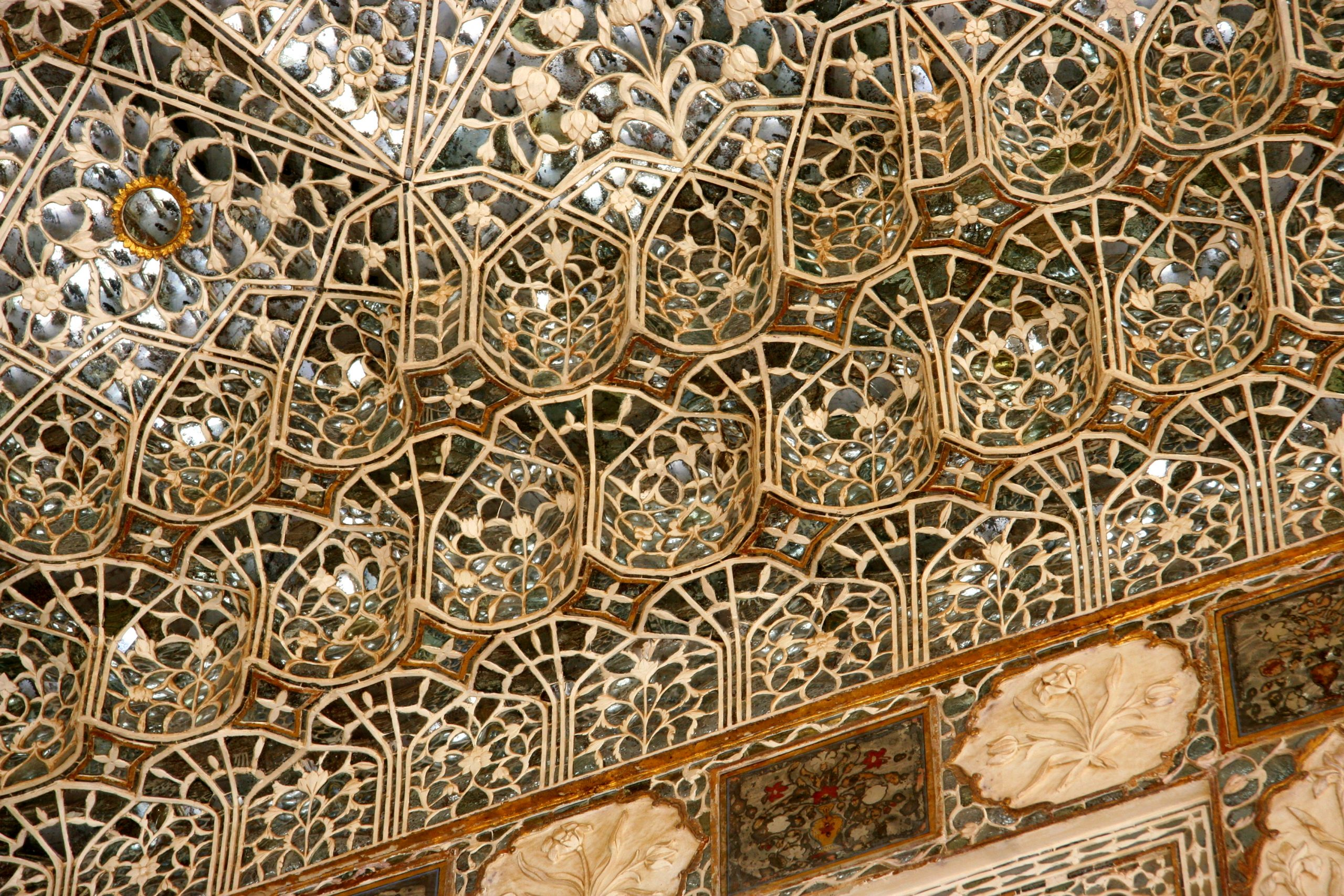 2015, Ceiling of Sheesh Mahal, Amer Palace, Jaipur, India