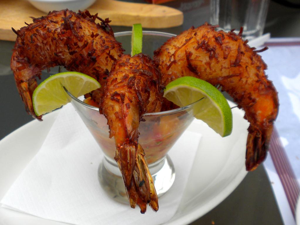 coconut shrimp with mango salsa
